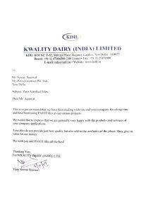 Kwality Dairy (INDIA) Ltd.